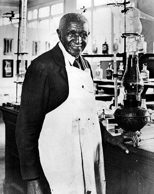 George Washington Carver in lab