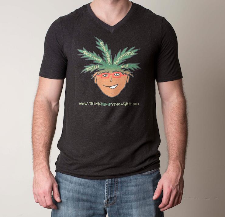 Hemp textile t shirt men 39 s v neck short sleeve think for Mens hemp t shirts