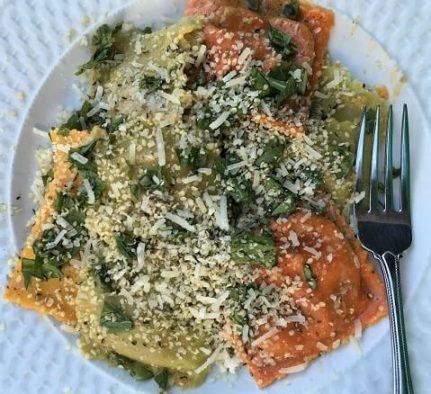 Ravioli with hemp hearts