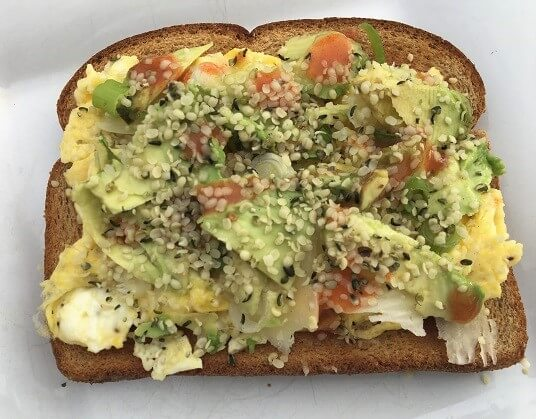 Open face egg sandwich and hemp hearts